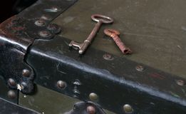 Vintage keys on a trunk Royalty Free Stock Images