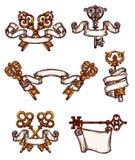 Vintage keys vector icons sketch decor set Stock Images