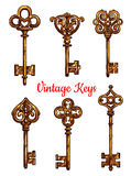 Vintage keys vector isolated icons set Stock Image