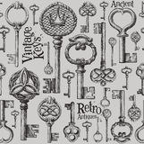 Vintage keys vector logo design template. antiques Royalty Free Stock Photos