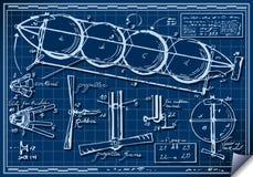Vintage Kids Plane Project on Blueprint stock illustration
