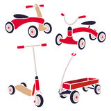 Vintage Kids Toys Bicycle, Kick Scooter, Red Wagon. Vector Collection Royalty Free Stock Photos