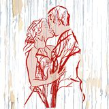 Vintage kissing couple with trees on wood. Hand-drawn vector vintage illustration stock illustration