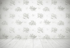 Vintage kitchen background. Kitchen wallpaper and grungy wooden floor, vintage room design Stock Photography
