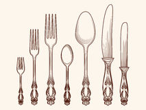 Vintage kitchen cutlery objects sketch Stock Photo