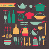 Vintage kitchen dishes icons set Royalty Free Stock Photo