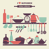 Vintage kitchen dishes icons set Stock Image