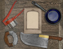 Vintage kitchen knife and utensils collage Royalty Free Stock Image