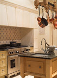 Vintage Kitchen. Modern Style Contemporary Vintage Kitchen with Copper Pots and Pans stock photography