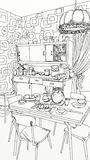 Vintage kitchen with objects and furniture royalty free illustration
