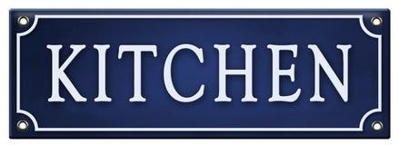 Vintage Kitchen Pantry Sign Enamel Retro Old Fashioned. Antique metal tin embossed blue door royalty free illustration