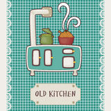 Vintage kitchen stove top. Retro card old kitchen. Vintage stove top with pots Royalty Free Stock Photography