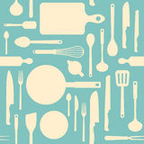Vintage kitchen tools pattern. Vintage kitchen and cooking tools seamless pattern with kitchenware equipment on light blue background Royalty Free Stock Image
