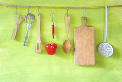 Vintage kitchen utensils and bell pepper Royalty Free Stock Images