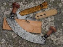 Vintage kitchen utensils collage over old concrete. Background Stock Photo