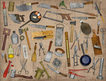 Vintage kitchen utensils collage. Over old paper Stock Photography