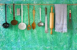 Vintage kitchen utensils Stock Images