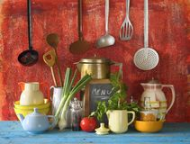 vintage kitchen utensils and food Royalty Free Stock Image