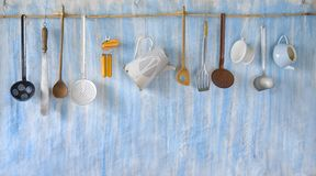 Vintage kitchen utensils Royalty Free Stock Images