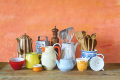 Vintage kitchen utensils and tableware Royalty Free Stock Photos