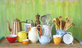 Vintage kitchen utensils and tableware Stock Photo