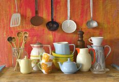 Vintage kitchenware. Collection of vintage kitchenware, on red background stock photos