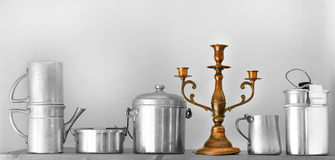 Vintage kitchenware on country board shelf Royalty Free Stock Images