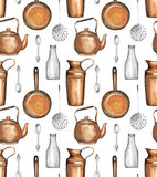 Vintage kitchenware. Seamless pattern with vintage kitchenware hand-drawn with watercolor Stock Photo