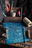 Vintage kite and elements to construct it Royalty Free Stock Images