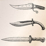Vintage knife hand drawing engraving illustration. Clip art isolated on grunge background Royalty Free Stock Photo