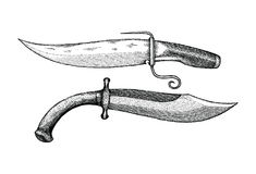 Vintage knife hand drawing engraving illustration. Clip art isolated on white background Stock Photos