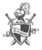 Vintage knight emblem Stock Photos