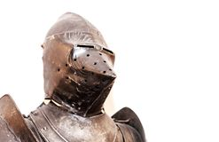 Vintage knight's armor suit on white. Background Royalty Free Stock Image