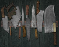 Vintage knives on the rack Royalty Free Stock Images