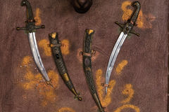Vintage knives on the wall Royalty Free Stock Photos