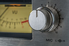 Vintage Knob. Close up of Mic Level Knob of old tape recorder Stock Photos