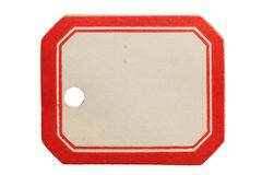 Vintage Label. Vintage red and white label tag isolated on white background Stock Images