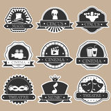 Vintage label. Vintage entertainment labels silhouette set Stock Photography