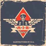 Vintage label. Vintage air force label with pilot (T-Shirt Print Stock Photos