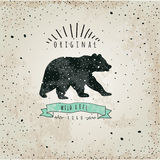 Vintage label bear. Design for T-Shirt Royalty Free Stock Image