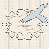 Vintage label with bird Stock Images