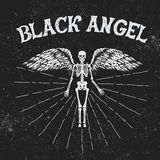 Vintage label with black angel. Vintage style.Typography design for t-shirts Stock Images