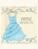 Vintage  label with blue dress Stock Photography