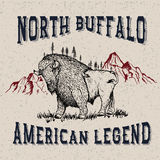 Vintage label with buffalo. Typography design for t-shirts Stock Images