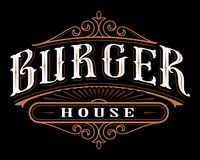 Vintage label of burger. Lettering design of catering on dark background. All objects are on the separate groups vector illustration