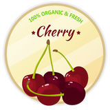 Vintage label with cherry isolated on white background in cartoon style. Vector illustration. Fruit and Vegetables. Vintage label with cherry isolated on white Stock Photo