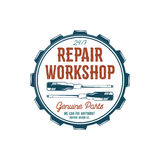 Vintage label design. Repair workshop emblem in retro colors style with garage tools - screwdrivers and vector Royalty Free Stock Images