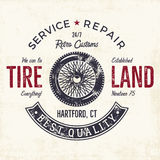 Vintage label design. Tire service emblem in monochrome retro style. With vector old wheel and typography elements. Good for tee shirt design, prints, car Stock Photography