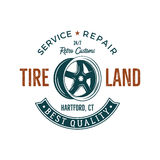 Vintage label design. Tire service emblem in retro color style with vector old wheel and typography elements. Good for. Tee shirt , prints, car logo, repair Stock Photos