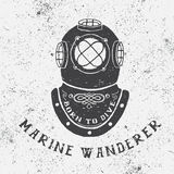 Vintage label with diving helmet. Typography design for t-shirts Stock Photos